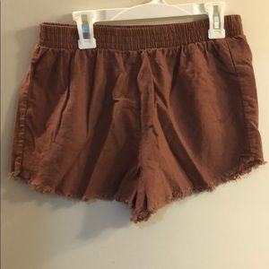 Burnt Orange elastic waist shorts